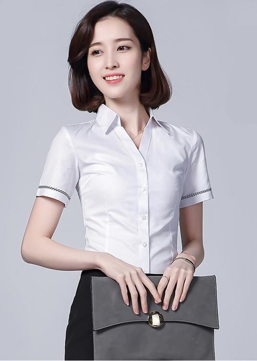 天河女士短袖衬衫定制