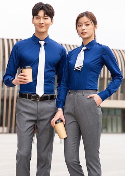 佛山男女同款长袖衬衫定制